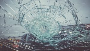 shattered windshield from head-on collision