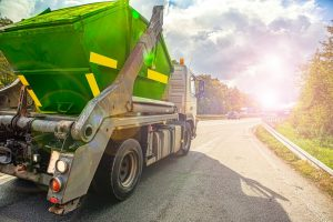 truck on the road, Urban recycling waste and garbage services